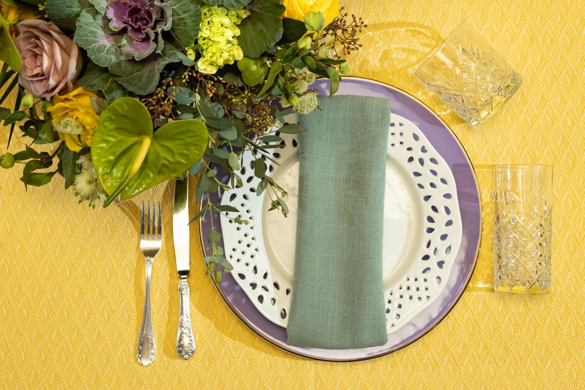 White Lace and Anna Weatherly Lilac on Yellow Tiki with Linati Seafoam Napkin and Monte Carlo Flatware with Timeless Glassware