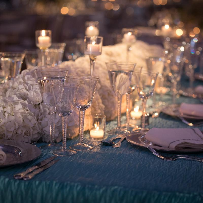 Belvedere Stemware on Sparkling Turquoise