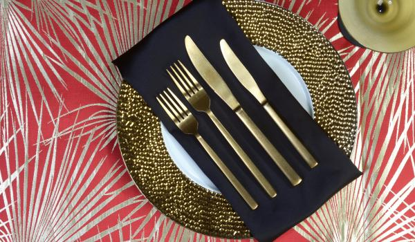 Gold Matte with Mystique Satin Black Dinner Napkin on Geneva Gold and Palms Red